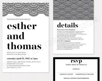 Elegant wedding invitation suite | digital download | Art deco, Gatsby invite