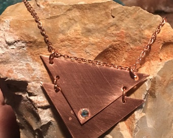 Copper Necklace -  Double triangle