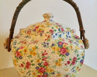 Rare Royal Winton Biscuit Barrel  Grimwades Fireglow 1930's Chintz