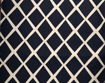 Serena Lily Diamond Trellis Navy White Fabric by the Yard