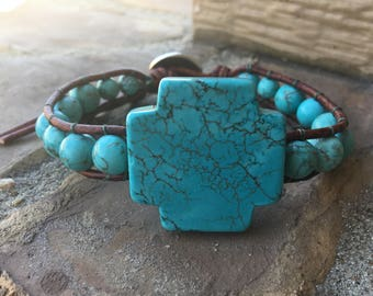 Wrap Bracelet, Beaded Wrap Bracelet, Turquoise Wrap Bracelet, Leather Wrap Bracelet, Single Wrap Bracelet