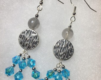 Blue crystal dangle earrings