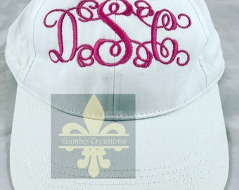 Monogrammed hat, Monogrammed baseball cap, Womens, Embroidered hat