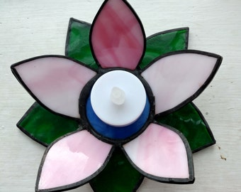 stained glass lily votive