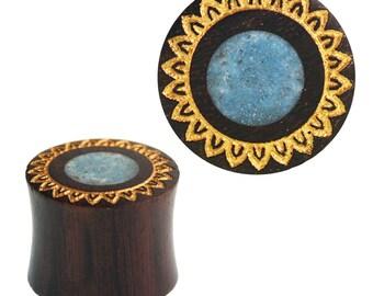 Plug Sonoholz crushed turquoise stone inlay flower golden double flared hand work (No. HPT-455)
