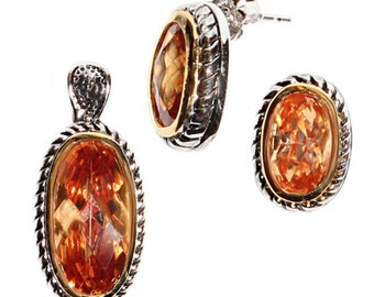 Jewelry set oval cubic zirconia gold plated gold orange pendant earrings 925 Silver (type-n ° AG-13)