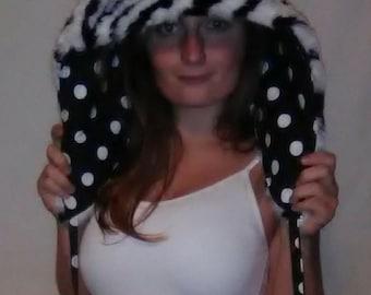 Fur hood, reversable, spirit hood, rave, festival, hat, zebra, spots