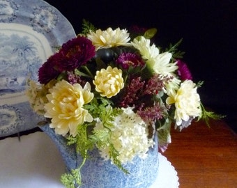 Cottage floral arrangement in vintage blue granite ware tea kettle.  Fresh accent for your country home