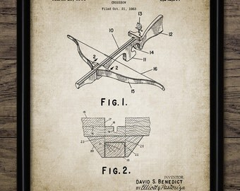 Crossbow Patent Print - Crossbow Design - Projectile Weapon Invention - Weapon - Crossbow Bolt - Single Print #2154 - INSTANT DOWNLOAD