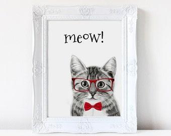 Hipster cat, Meow, wall art, print, cats, cat art, artwork, cat in glasses, cute cat, home decor, illustration