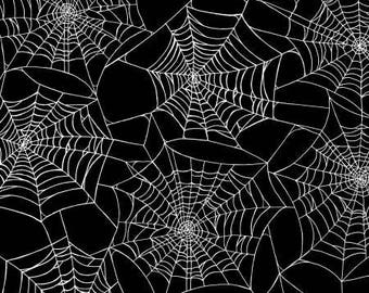 Black Spider Webs w/Metallic Fabric; You Choose Size; 1107M-99; Henry Glass Fabrics; Fright Night; Halloween Fabric