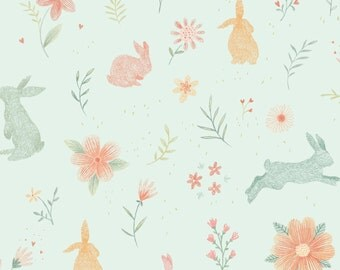 Bunny Tales Garden Pale Aqua 3554-11 by Studio-e Fabrics Cotton Fabric Yardage