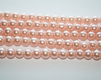 Pink Glass Pearl Beads, - 8mm - 48ct - D025
