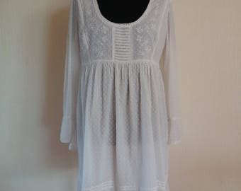 Vintage White Womens Cotton Summer Dress Long Sleeves
