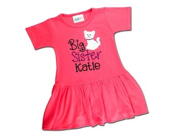 Girl's 'Big Sister' Kitten Dress with Embroidered Name