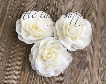WHOLESALE 10 Ivory Rose Blossoms headband flowers bulk fabric flowers bulk  wholesale, headbands, hair clips