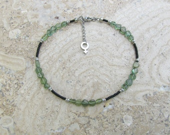 Green Apatite Stone Gemstone and Black Seed Bead 'Female Gender' Charm Extension Anklet