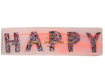 Meri Meri Mini Birthday Garland, Multi Colored Glitter Birthday Garland, Happy Birthday Banner, Glitter Banner, First Birthday Party Decor
