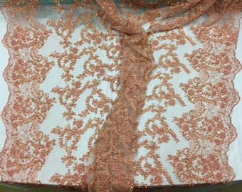 Majestic copper shinny Vine Design Embroider And Heavy Beaded On A mesh lace -yd