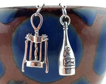 Wine earrings - wine jewelry - wine bottle earrings - wine opener earrings - wine bottle jewelry - mismatched earrings - wine club earrings