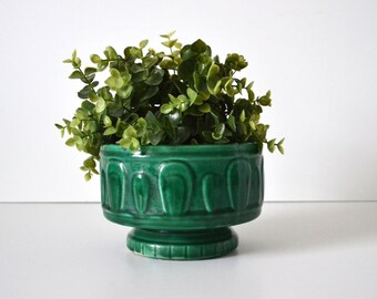 Vintage Emerald Green Glazed Planter Vessel