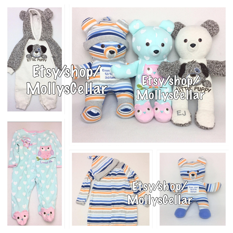 Baby scrapbook ideas uk - Keepsake Memory Bear Bear From Onesie Sleeper Bear Custom Memory Bear Bear From Clothes Baby Clothes Bear Memorial Bear Custom Bear