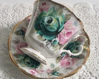 "Royal Albert Summer Bounty Series ""Jade"" China Tea Cup & Saucer"