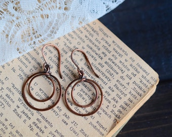 Rustic Copper Hoop Earrings. Drop Earrings. Dangle Earrings. Boho Jewelry. Boho Earrings. Hoop Earrings.