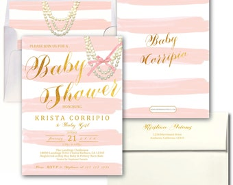 Blush Pink Gold Baby Shower Invitation // Pink Stripes // Watercolor / Gold Foil Print / It's a Girl / Baby Girl // SANTA BARBARA COLLECTION