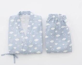 Once upon a time blue/pink dream of sweet cloud marshmallow top pants set kimono pajama