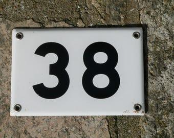 Vintage French white and black enamel door number 38 - door or gate plaque - metal & Door number   Etsy pezcame.com