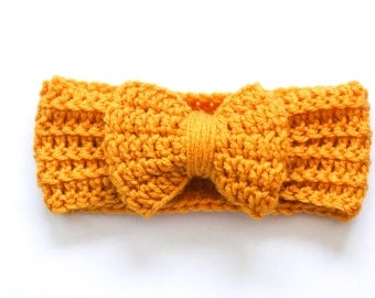 Girls mustard yellow handmade crochet bow ear warmer