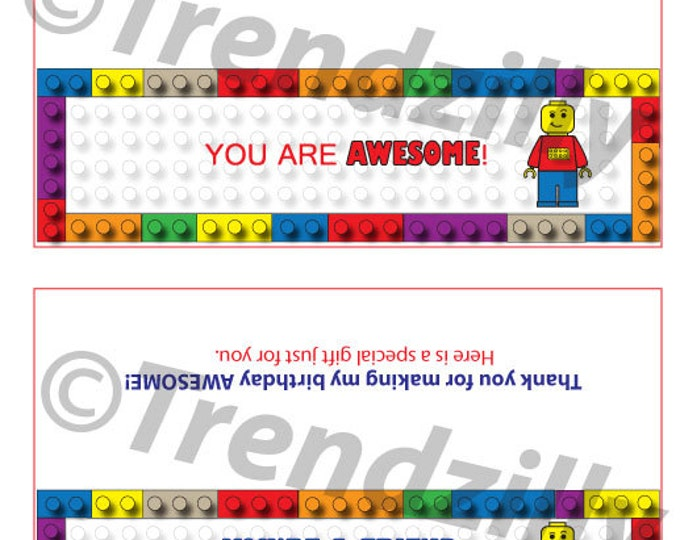 Interlocking Building Block Birthday Pary Favor, Bag Topper Pary Favor with Candy Wrappers, Birthday Party, Printable Instant Download.