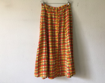 Vintage Skirt - Orange Maxi Button Up Front Grunge Boho Bohemian Festival