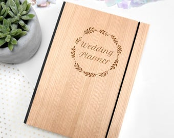 Wooden Wedding Planner, Personalized Notebook, Bride To Be, Wedding Stationary, Engagement Gift, Personalised Wedding Planner Notebook