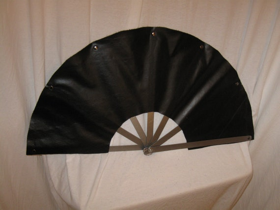 """13"""" Long Steel Rib and Leather Impact Fan"""