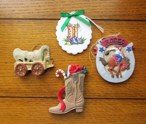 4 Different Western Cowboy Christmas Ornaments