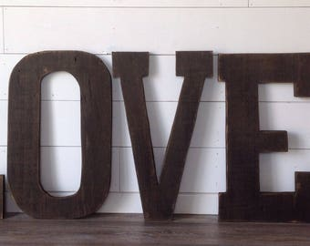 Barn Wood Letters measuring 24 inches tall,Distressed, stained,  barn wood letters, rustic letters, rustic decor, rustic letter,LOVE
