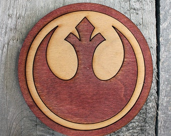 Rebel Alliance Wood Coaster | Rustic/Vintage | Hand Stained and Glued | Comic Book Gift | Star Wars