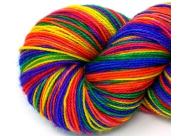 Rainbow Self-Striping Hand-Dyed Yarn in Castro Pride