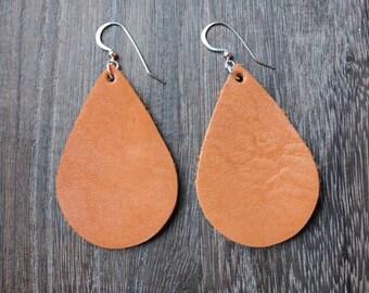Teardrop Leather Tan Earrings