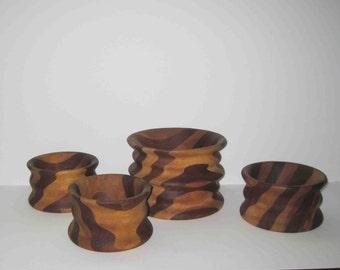 Vintage Wooden Salad Bowl Set 4 Bowls,Stripe Design,Hand Made