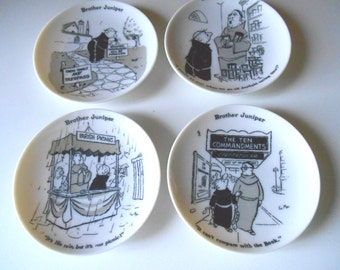 Brother Juniper Porcelain Coasters Lot of 4 Produced 1960 By The Shafford Company