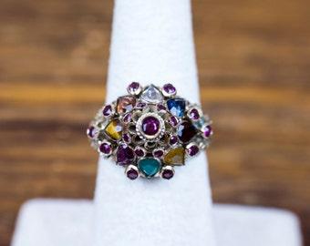 Thai Princess Ring / Princess Ring / Retro Multi Gemstone Ring 14k