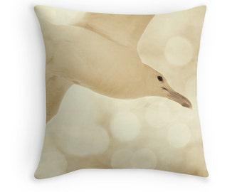 Cream Pillow, Cream Cushion, Cream Pillow Cover, Seagull, Neutral Pillows, Neutral Pillow Cover, White Cushion, Bird Lover Gift, Sea Gulls