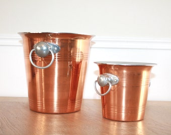 Set of 2, French Champagne Bucket, Bottle Cooler, Copper Ice Bucket, Parisian Decor, Bar Accessories, Bar Cart, Wedding Gift, Parisian Theme