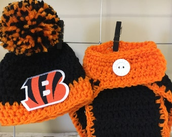 Cincinnati Bengals hats, Cincinnati Bengals baby hats, newborn Cincinnati Bengals hats and photo prop, Cincinnati Bengals diaper cover