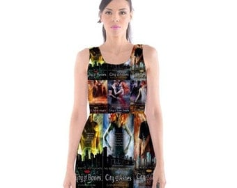 S- 3XL Mortal Instruments inspired Books Print Dress novel- City of Bones- Shadowhunters