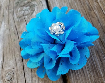 Turquoise Hair Clip, Turquoise Headband, Hair Accessory, Girls Accessory, Girls Headband, Photo Prop, Spring Flower, Baby Girl Headband