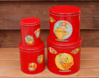 Red Canister Set, Vintage Tinware Canisters, Retro Canisters, Flower Canisters, Kitchen Canisters